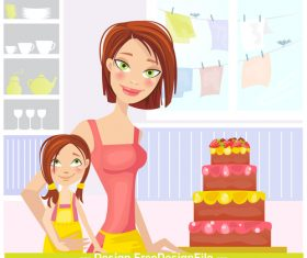 Daughters birthday cartoon vector