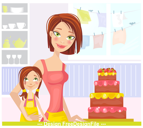 Daughters birthday cartoon vector