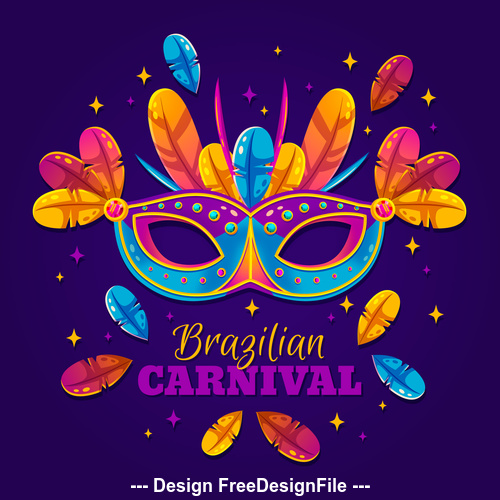 Decorative mask brazilian carnival vector