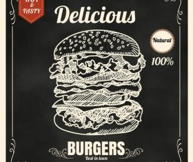 Delicious burger icon vector