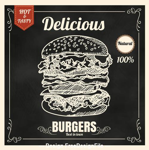 Delicious burger icon vector