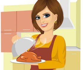 Delicious grilled chicken vector
