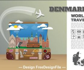 Denmark travel cartoon illustration vector