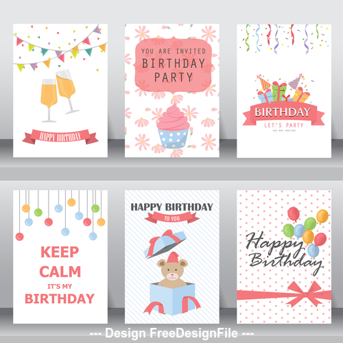 Design birthday decorative greeting card vector