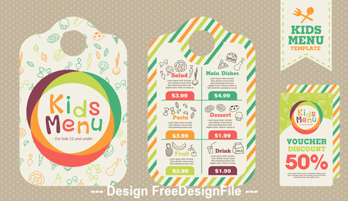 Design cover kids menu vector