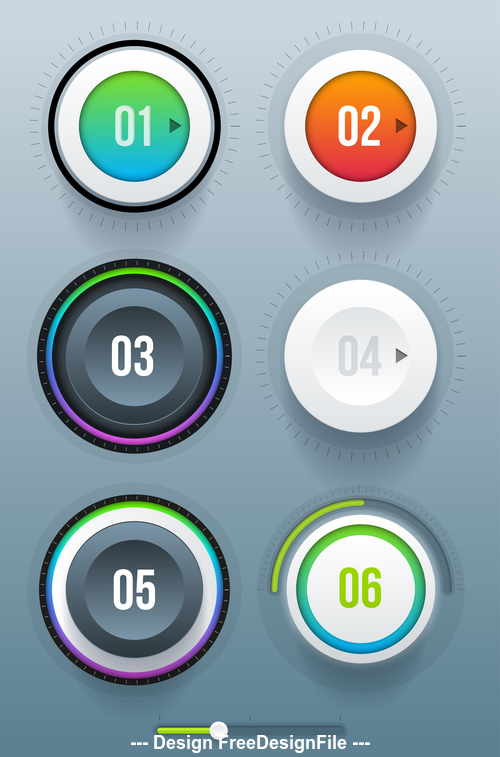 Different color button design vector