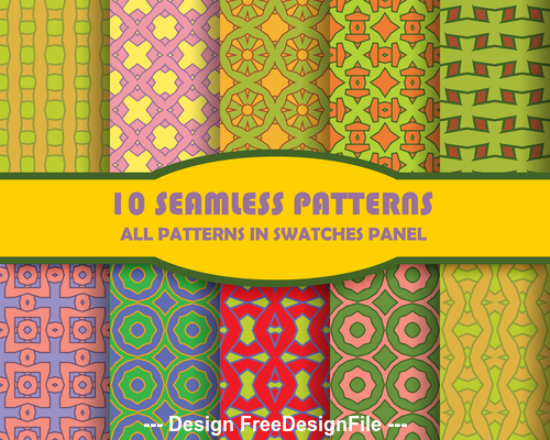 Different colored seamless patterns vector