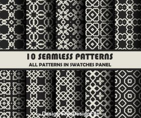Different geometric patterns on black background vector