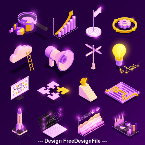 Different isometric symbols vector