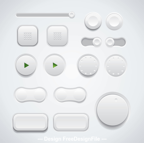Different shape button design elements vector