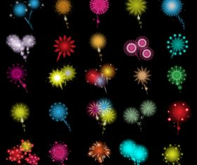 Different shapes fireworks icons set vector