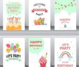 Different style birthday greeting card vector