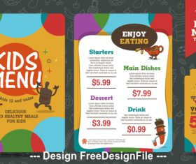 Discount kids menu vector