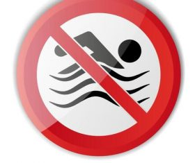 Do not swim prohibition sign vector