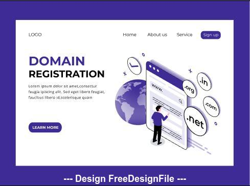 Domain registration page vector