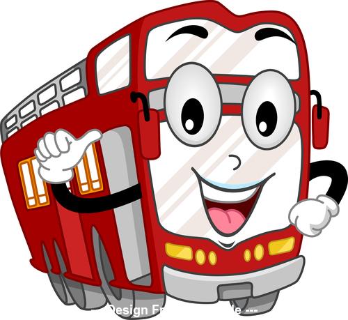 Double decker bus cartoon vector