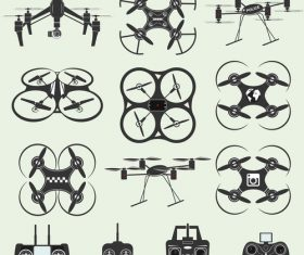 Drone and remote control icon vector