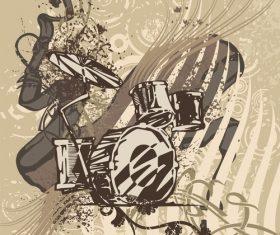 Drum kit grunge music instrument vector