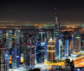 Dubai marina skyline during night dubai stock photo