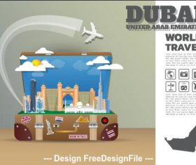 Dubai travel cartoon illustration vector