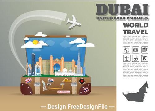 Dubai travel cartoon illustration vector