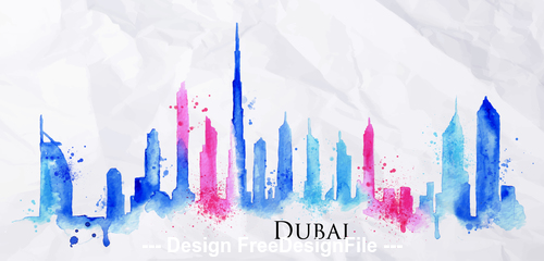 Dubai watercolor city silhouette vector