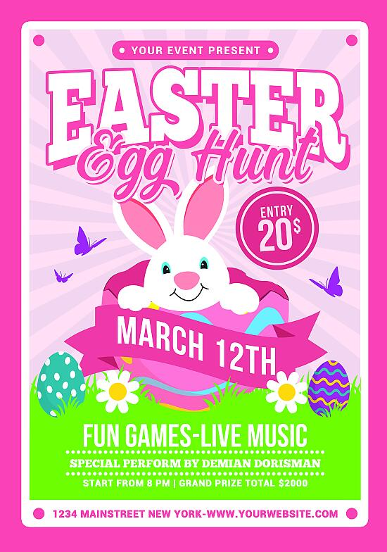 Easter Egg Hunt Flyer PSD Template