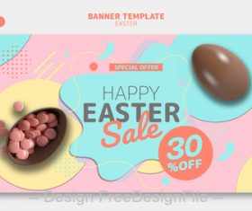Easter banner template design psd