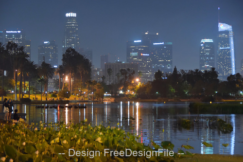 Echo park lake los angeles ca stock photo