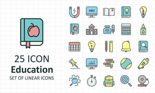 Education linear icon collection vector