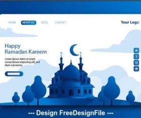 Elegant Ramadan kareem landing page vector