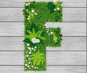 F floral letters vector