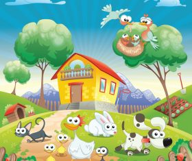 Farm animals group vector