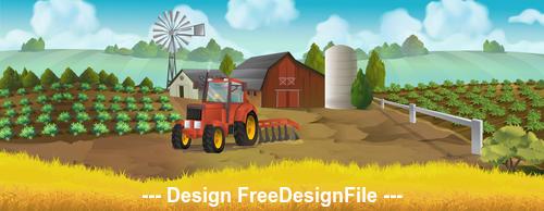 Farm panorama landscape vector background