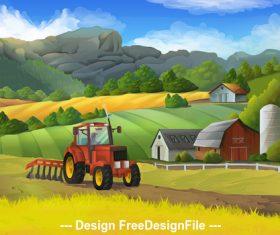Farm rural landscape vector background