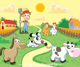 Farm with farmer and animals vector