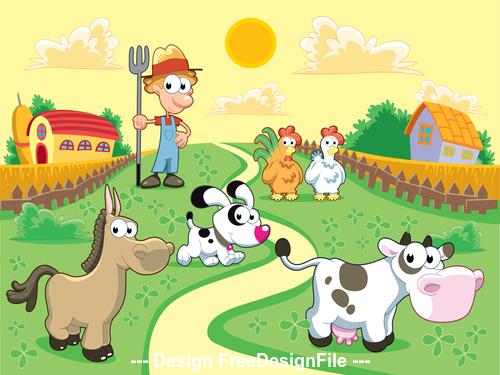 Farm with farmer and animals vector