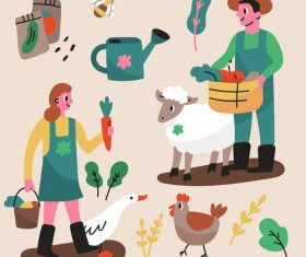 Farmer and breeding cartoon illustration vector