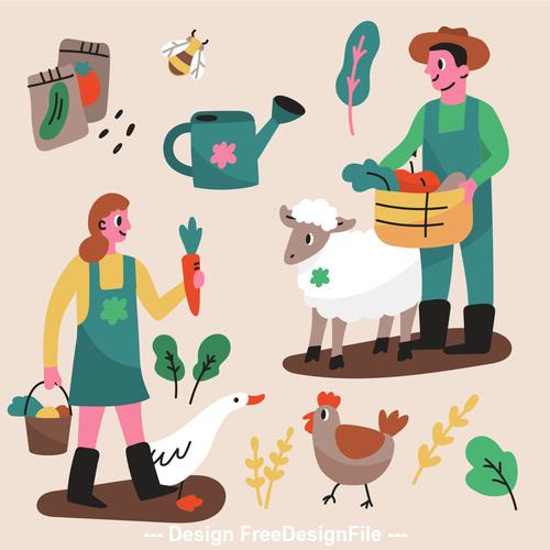 Farmer and breeding cartoon illustration vector