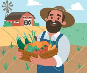 Farmer and organic vegetables cartoon illustration vector