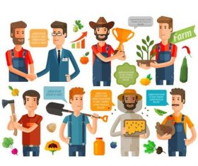 Farmer cartoon character dialogue background vector