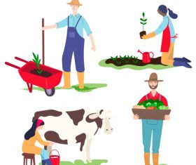 Farmer cartoon illustration vector