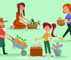 Farming cartoon illustration vector