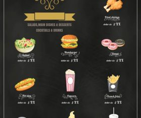 Fast food menu vector icons
