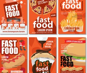 Fast food poster design set vector