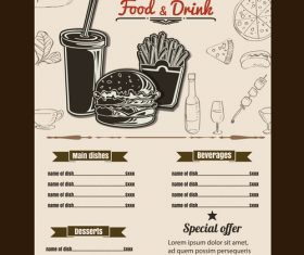 Fast food price list vector
