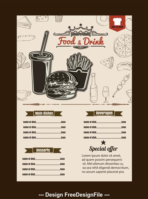 Fast food price list vector
