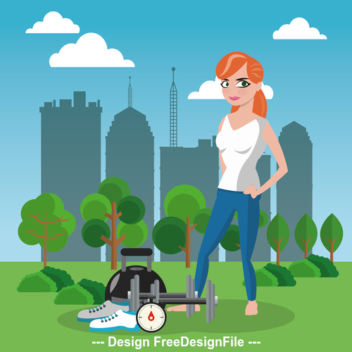 Female and fitness equipment vector