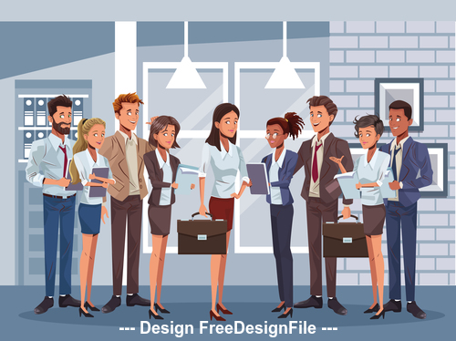 Female boss and employee cartoon vector