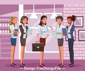 Female boss and female staff cartoon vector